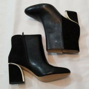 """""""NEW"""" INC Black Leather/Suede Bootie Size 8.5"""